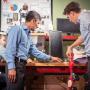 Manuel Cestari, Jose Contreras-Vidal and David Eguren work on the construction of a pediatric exoskeleton for brain-computer interfaced mobility.