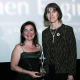 Siddika Demir (1993 BSCE) accepts the Emerging Leaders Award from the Society of Women Engineers President Jude Garzolini at the organization's 2006 Award's Banquet held in Kansas City. Photo supplied by SWE.