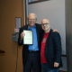 NAE Member and Rockwell lecturer Michael Kavanaugh, left, accepts plaque from Roberto Ballarini, chair of civil engineering