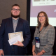 Cullen College doctoral student Nathaniel Piety with award given by Donna M. Regan, president of AABB