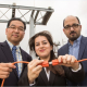 Powering up: Saeedeh Abbasi (center) works to restore power with the help Gino Lim and Masoud Barati