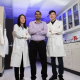 Wendy Lang, Sashank Kasiraju and Wei Qin in the lab where award-winning work takes place