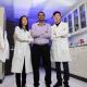 Wendy Lang, Sashank Kasiraju and Wei Qin in the lab where award-winning work takes place