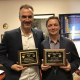 Stanko Brankovic and Lars Grabow, two UH Cullen College of Engineering professors, accept the STS-AIChE Best Fundamental Paper Award.
