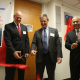 The Omron Senior Design and Robotics Laboratory ribbon cutting with Joseph Tedesco, UH Cullen College of Engineering dean; Robb Black, president and CEO of Omron Automation Americas and Badri Roysam, rofessor and department chairman of the electrical and computer engineering department.