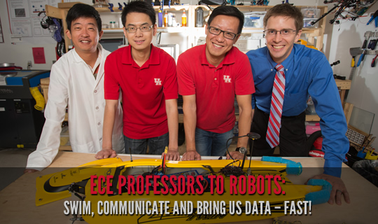 ECE Professors to Robots: Swim, Communicate and Bring Us Data – Fast!