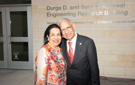 The University of Houston recently celebrated the dedication of the newly named Durga D. And Sushila Agrawal Engineering Research Building.